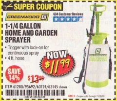 Harbor Freight Coupon 1-1/4 GALLON HOME AND GARDEN SPRAYER Lot No. 63145 Expired: 11/30/19 - $11.99