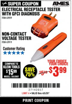 Harbor Freight Coupon NON-CONTACT VOLTAGE TESTER OR ELECTRICAL RECEPTACLE TESTER WITH GFCI DIAGNOSIS Lot No. 63919, 63929 Valid: 4/5/20 - 4/11/20 - $3.99