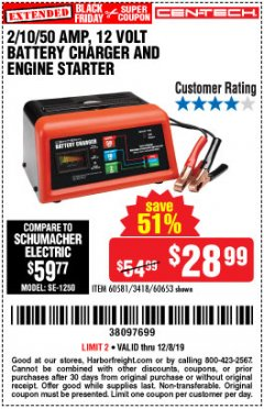 Harbor Freight Coupon CEN-TECH 2/10/50 AMP, 12 VOLT BATTERY CHARGER/ENGINE STARTER Lot No. 60653/3418/60581 Expired: 12/8/19 - $28.99
