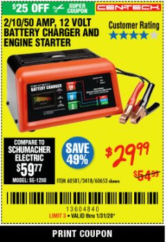 Harbor Freight Coupon CEN-TECH 2/10/50 AMP, 12 VOLT BATTERY CHARGER/ENGINE STARTER Lot No. 60653/3418/60581 Expired: 1/31/20 - $29.99