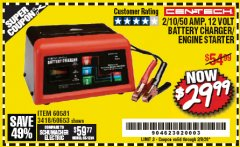 Harbor Freight Coupon CEN-TECH 2/10/50 AMP, 12 VOLT BATTERY CHARGER/ENGINE STARTER Lot No. 60653/3418/60581 Expired: 2/8/20 - $29.99