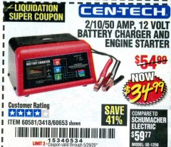 Harbor Freight Coupon CEN-TECH 2/10/50 AMP, 12 VOLT BATTERY CHARGER/ENGINE STARTER Lot No. 60653/3418/60581 Valid Thru: 6/30/20 - $34.99