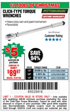 Harbor Freight Coupon PITTSBURGH CLICK-TYPE TORQUE WRENCHES Lot No. 61277/2696/63881/61276/807/63880/62431/239/63882 Expired: 12/24/19 - $5