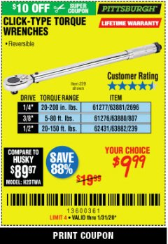 Harbor Freight Coupon PITTSBURGH CLICK-TYPE TORQUE WRENCHES Lot No. 61277/2696/63881/61276/807/63880/62431/239/63882 Valid Thru: 1/31/20 - $9.99