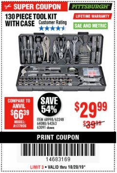 Harbor Freight Coupon PITTSBURGH 130 PIECE TOOL KIT WITH CASE Lot No. 68998/63248/64080/64263/63091 Expired: 10/20/19 - $29.99