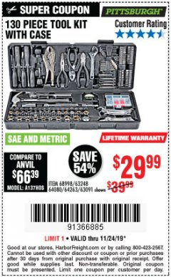 Harbor Freight Coupon PITTSBURGH 130 PIECE TOOL KIT WITH CASE Lot No. 68998/63248/64080/64263/63091 Expired: 11/24/19 - $29.99