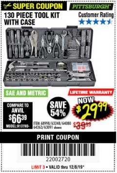 Harbor Freight Coupon PITTSBURGH 130 PIECE TOOL KIT WITH CASE Lot No. 68998/63248/64080/64263/63091 Expired: 12/8/19 - $29.99
