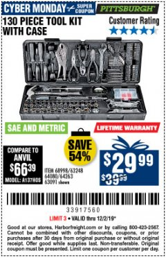 Harbor Freight Coupon PITTSBURGH 130 PIECE TOOL KIT WITH CASE Lot No. 68998/63248/64080/64263/63091 Expired: 12/2/19 - $29.99