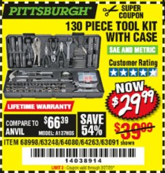 Harbor Freight Coupon PITTSBURGH 130 PIECE TOOL KIT WITH CASE Lot No. 68998/63248/64080/64263/63091 Expired: 2/27/20 - $29.99