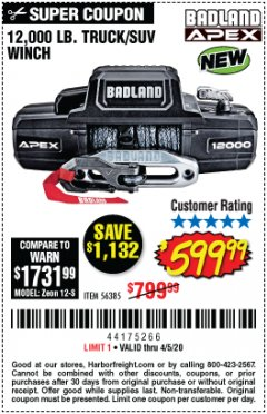 Harbor Freight Coupon BADLAND APEX 12,000 LB. TRUCK/SUV WINCH Lot No. 56385 Expired: 6/30/20 - $599.99