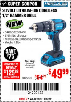 Harbor Freight Coupon HERCULES 20V CORDLESS 1/2IN HAMMER DRILL Lot No. 56533 Expired: 11/3/19 - $49.99
