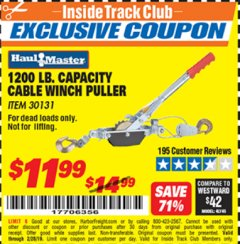 Harbor Freight ITC Coupon 1200 LB. CAPACITY CABLE WINCH PULLER Lot No. 30131 Valid Thru: 2/28/19 - $11.99