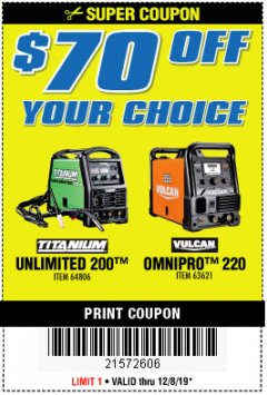 Harbor Freight Coupon $70 OFF YOUR CHOICE: TITANIUM UNLIMITED 200 OR VULCAN OMNIPRO 220 WELDER Lot No. 64806, 63621 Expired: 12/8/19 - $70