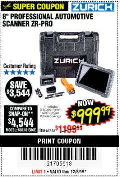 "Harbor Freight Coupon ZURICH 8"" PROFESSIONAL AUTOMOTIVE SCANNER ZR-PRO Lot No. 64576 Expired: 12/8/19 - $999.99"