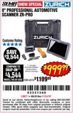 "Harbor Freight Coupon ZURICH 8"" PROFESSIONAL AUTOMOTIVE SCANNER ZR-PRO Lot No. 64576 Expired: 11/24/19 - $999.99"