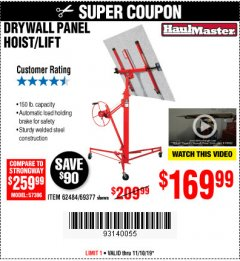 Harbor Freight Coupon DRYWALL PANEL HOIST/LIFT Lot No. 62484/69377 Expired: 11/10/19 - $169.99