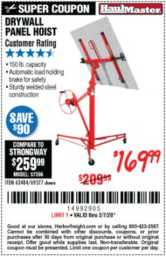 Harbor Freight Coupon DRYWALL PANEL HOIST/LIFT Lot No. 62484/69377 Expired: 2/7/20 - $169.99