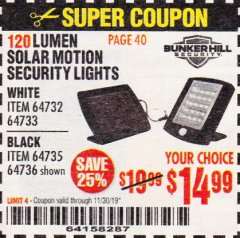 Harbor Freight Coupon 120 LUMEN SOLAR MOTION SECURITY LIGHTS Lot No. 64732, 64733, 64735, 64736 Expired: 11/30/19 - $14.99