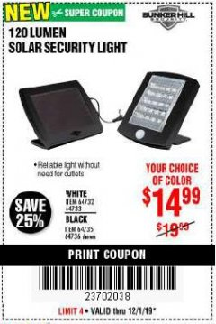 Harbor Freight Coupon 120 LUMEN SOLAR MOTION SECURITY LIGHTS Lot No. 64732, 64733, 64735, 64736 Expired: 12/1/19 - $14.99