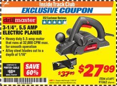 "Harbor Freight ITC Coupon 3-1/4"", 5.5 AMP ELECTRIC PLANER Lot No. 61691/91062 Expired: 11/30/19 - $27.99"