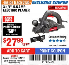 "Harbor Freight ITC Coupon 3-1/4"", 5.5 AMP ELECTRIC PLANER Lot No. 61691/91062 Expired: 12/10/19 - $27.99"