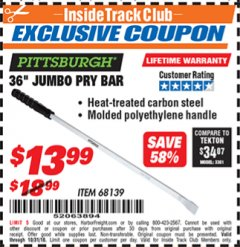 "Harbor Freight ITC Coupon 36"" JUMBO PRY BAR Lot No. 68139 Expired: 10/31/18 - $13.99"