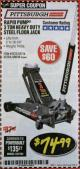 Harbor Freight Coupon RAPID PUMP 3 TON HEAVY DUTY STEEL FLOOR JACK Lot No. 68048/69227/62116/62590/62584 Expired: 2/28/18 - $74.99