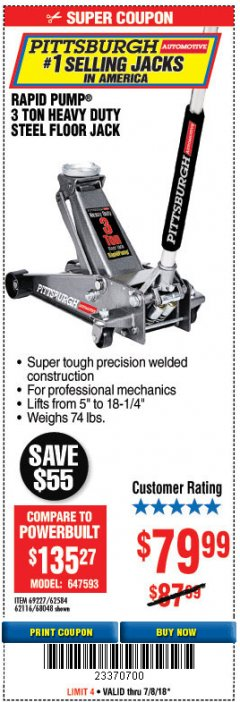 Harbor Freight Coupon RAPID PUMP 3 TON HEAVY DUTY STEEL FLOOR JACK Lot No. 68048/69227/62116/62590/62584 Expired: 7/8/18 - $79.99