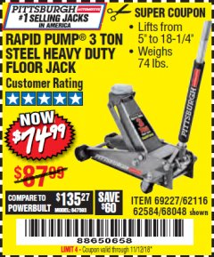 Harbor Freight Coupon RAPID PUMP 3 TON HEAVY DUTY STEEL FLOOR JACK Lot No. 68048/69227/62116/62590/62584 Expired: 11/12/18 - $74.99