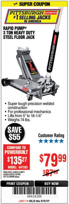 Harbor Freight Coupon RAPID PUMP 3 TON HEAVY DUTY STEEL FLOOR JACK Lot No. 68048/69227/62116/62590/62584 Expired: 9/16/18 - $79.99