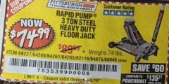 Harbor Freight Coupon RAPID PUMP 3 TON HEAVY DUTY STEEL FLOOR JACK Lot No. 68048/69227/62116/62590/62584 Valid Thru: 5/28/19 - $74.99