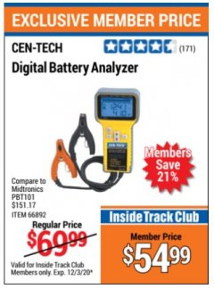 Harbor Freight ITC Coupon DIGITAL BATTERY ANALYZER Lot No. 66892 Expired: 12/3/20 - $54.99