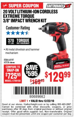 "Harbor Freight Coupon LITHIUM-ION CORDLESS EXTREME TORQUE 3/8"" IMPACT WRENCH KIT Lot No. 64197, 63536 Expired: 12/22/19 - $129.99"