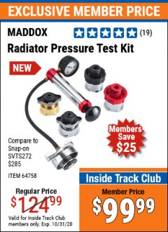 Harbor Freight ITC Coupon MADDOX RADIATOR PRESSURE TEST KIT Lot No. 64758 Expired: 10/31/20 - $99.99