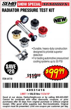 Harbor Freight Coupon MADDOX RADIATOR PRESSURE TEST KIT Lot No. 64758 Expired: 11/24/19 - $99.99