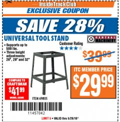 Harbor Freight ITC Coupon UNIVERSAL TOOL STAND Lot No. 46075/69805 Expired: 5/29/18 - $29.99