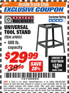 Harbor Freight ITC Coupon UNIVERSAL TOOL STAND Lot No. 46075/69805 Expired: 7/31/18 - $29.99
