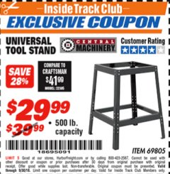 Harbor Freight ITC Coupon UNIVERSAL TOOL STAND Lot No. 46075/69805 Expired: 9/30/18 - $29.99