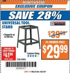 Harbor Freight ITC Coupon UNIVERSAL TOOL STAND Lot No. 46075/69805 Expired: 10/2/18 - $29.99