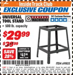Harbor Freight ITC Coupon UNIVERSAL TOOL STAND Lot No. 46075/69805 Expired: 12/31/18 - $29.99
