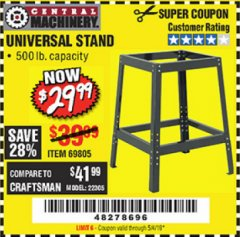 Harbor Freight Coupon UNIVERSAL TOOL STAND Lot No. 46075/69805 Valid Thru: 5/4/19 - $29.99