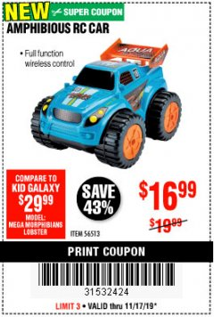 Harbor Freight Coupon AMPHIBIOUS RC CAR Lot No. 56513 Expired: 11/17/19 - $16.99