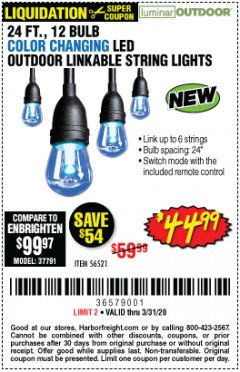 Harbor Freight Coupon 24 FT., 12 BULB COLOR CHANGING LED OUTDOOR LINKABLE STRING LIGHTS Lot No. 56521 Expired: 3/31/20 - $44.99