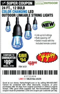 Harbor Freight Coupon 24 FT., 12 BULB COLOR CHANGING LED OUTDOOR LINKABLE STRING LIGHTS Lot No. 56521 Expired: 6/30/20 - $44.99