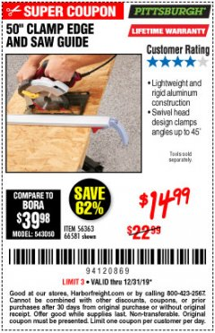 Harbor Freight Coupon 50 CLAMP EDGE AND SAW GUIDE Lot No. 56363, 66581 Expired: 12/31/19 - $14.99