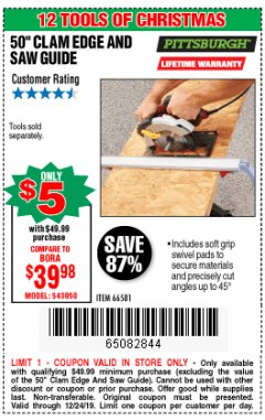 Harbor Freight Coupon 50 CLAMP EDGE AND SAW GUIDE Lot No. 56363, 66581 Expired: 12/24/19 - $5