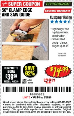 Harbor Freight Coupon 50 CLAMP EDGE AND SAW GUIDE Lot No. 56363, 66581 Expired: 2/29/20 - $14.99