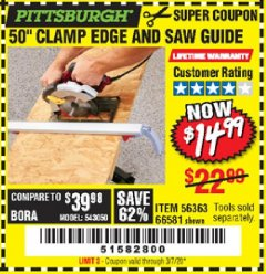 Harbor Freight Coupon 50 CLAMP EDGE AND SAW GUIDE Lot No. 56363, 66581 Expired: 3/7/20 - $14.99