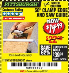 Harbor Freight Coupon 50 CLAMP EDGE AND SAW GUIDE Lot No. 56363, 66581 Expired: 6/21/20 - $14.99