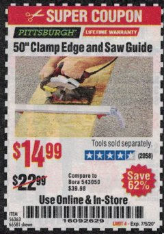 Harbor Freight Coupon 50 CLAMP EDGE AND SAW GUIDE Lot No. 56363, 66581 Expired: 7/5/20 - $14.99